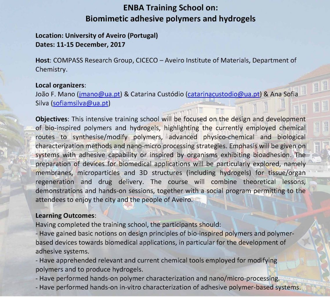 Training School Biomimetic Adhesive Polymers And Hydrogels ENBA
